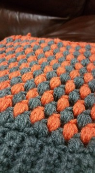 puff stitch grey and orange