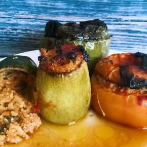 Greek Gemista style – Stuffed Veggies using bulgurwheat